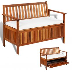Banco armazenamento p/ jardim madeira acácia XL 120x63x84 cm