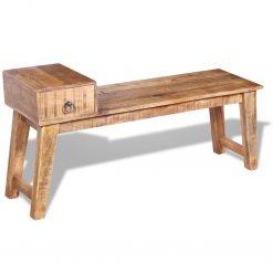 Banco com gaveta madeira de mangueira maciça 120x36x60 cm