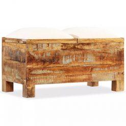 Banco de armazenamento em madeira reciclada maciça 80x40x40 cm