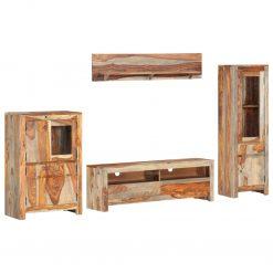 4 pcs conjunto unidade de TV madeira de sheesham maciça