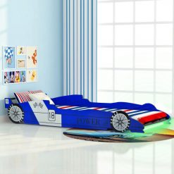 Cama carro de corrida LED para crianças 90x200 cm azul - Mobiliário para Crianças