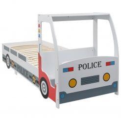 Cama carro da policia para crianças com secretária 90x200 cm - Mobiliário para Crianças