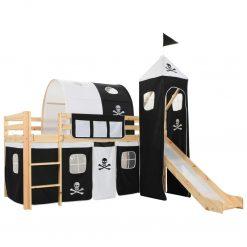 Estrutura de cama infantil c/ escorrega e escada pinho 97x208cm - Mobiliário para Crianças