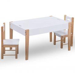 Mesa c/ quadro/arrumação desenho e cadeiras 3 pcs preto/branco - Mobiliário para Crianças