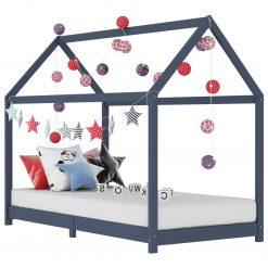 Estrutura de cama para crianças 70x140 cm pinho maciço cinzento - Mobiliário para Crianças