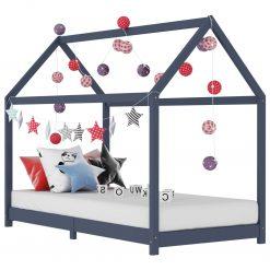 Estrutura de cama para crianças 80x160 cm pinho maciço cinza - Mobiliário para Crianças
