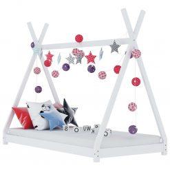Estrutura de cama para crianças 80x160 cm pinho maciço branco - Mobiliário para Crianças