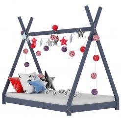 Estrutura de cama para crianças 90x200 cm pinho maciço cinzento - Mobiliário para Crianças