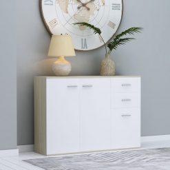 Aparador 105x30x75 cm contraplacado cor branco/carvalho sonoma - Aparadores