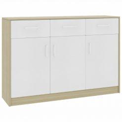 Aparador 110x34x75 cm contraplacado cor branco/carvalho sonoma - Aparadores