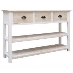 Aparador 115x30x76 cm madeira natural e branco - Aparadores