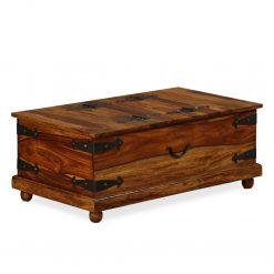 Arca de arrumação madeira sheesham maciça 90x50x35 cm - Baús