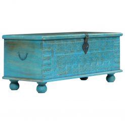 Arca de arrumos madeira mangueira maciça 100x40x41 cm azul - Baús