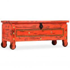 Arca de arrumos madeira mangueira maciça 101x39x42 cm vermelha - Baús