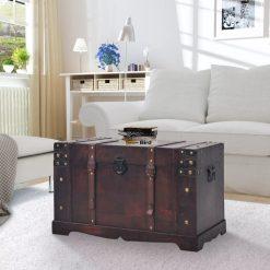 Arca/baú vintage em madeira 66x38x40 cm - Baús