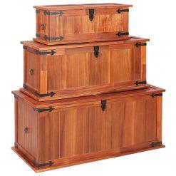Arcas de arrumação 3 pcs madeira de acácia maciça - Baús