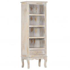 Armário alto 45x30x130 cm madeira de mangueira maciça cinzento - Armários e Cristaleiras