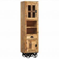 Armário alto c/ rodas 38x30x143cm madeira de mangueira maciça - Armários e Cristaleiras