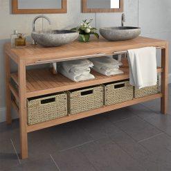 Armário de casa de banho teca maciça c/ lavatórios pedra do rio - Armários Casa de Banho
