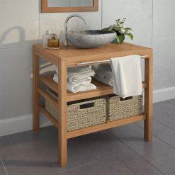 Armário de casa de banho teca maciça com lavatório pedra do rio - Armários Casa de Banho