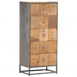 Armário de gavetas 45x30x100 cm madeira recuperada maciça - Cómodas