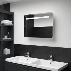 Armário espelhado para casa de banho com LED 80x11x55 cm - Armários Casa de Banho