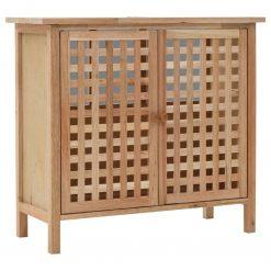 Armário para lavatório em madeira de nogueira maciça 66x29x61 cm - Armários Casa de Banho