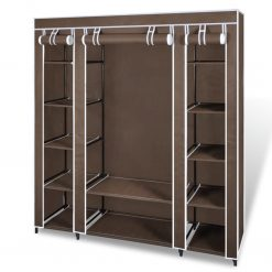 Armário tecido c/ compartimentos e varões 45x150x176cm castanho - Roupeiros