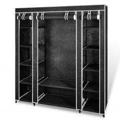 Armário tecido com compartimentos e varões 45x150x176 cm preto - Roupeiros