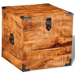 Bau quadrado de madeira de manga áspera - Baús