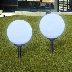 Bolas solares LED com pico-de-chão para jardim 2 pcs