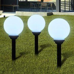 Bolas solares com pico-de-chão / 3 peças