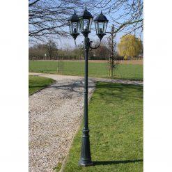 Brighton Candeeiro de pé p/ jardim 3 braços / 230 cm Verde escuro/preto