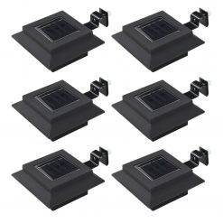 Candeeiro de exterior solar LED 6 pcs preto quadrado 12 cm