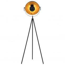 Candeeiro de pé alto 31 cm E27 preto e dourado