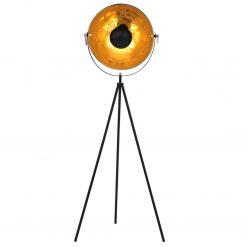 Candeeiro de pé alto 41 cm E27 preto e dourado