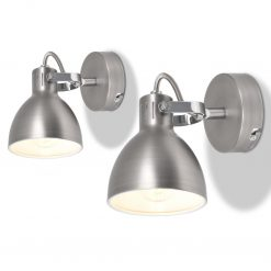 Candeeiro de parede 2 pcs para 2 lâmpadas E14 cinzento