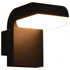 Candeeiro de parede LED de exterior 9 W preto oval