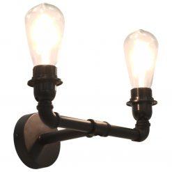 Candeeiro de parede bidirecional 2 x lâmpadas E27 preto