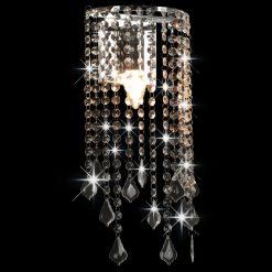 Candeeiro de parede com contas cristal E14 retangular prateado