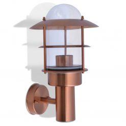 Candeeiro de parede exterior aço inoxidável cobre