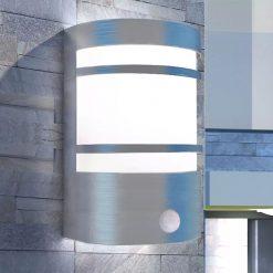 Candeeiro de parede exterior com sensor aço inoxidável