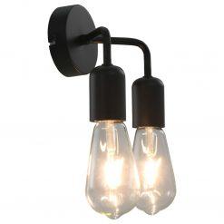 Candeeiro de parede lâmpadas de incandescáncia 2 W preto E27