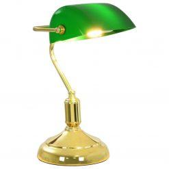 Candeeiro de secretária 40 W verde e dourado
