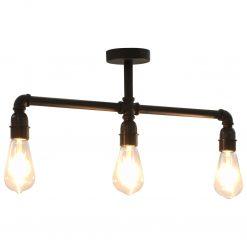 Candeeiro de teto 3 lâmpadas E27 preto