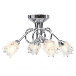 Candeeiro de teto c/ abajures vidro flores 4 lâmpadas G9