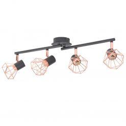 Candeeiro de teto com 4 focos E14 preto e cobre