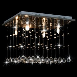 Candeeiro de teto com contas de cristal G9 cúbico prateado