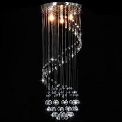 Candeeiro de teto com contas de cristal G9 espiral prateado
