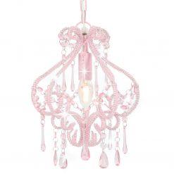Candeeiro de teto com contas redondo E14 cor-de-rosa